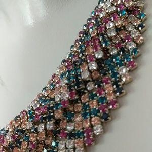 Natasha Jewelry - Jewel tone multicolor statement necklace